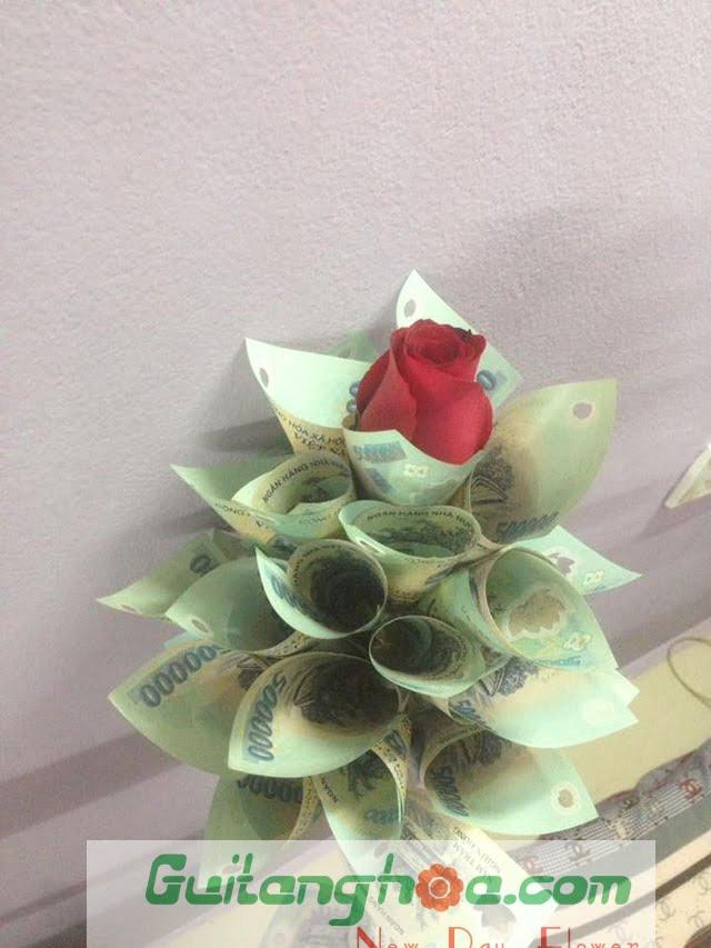 Bó hoa bằng tiền với hoa hồng đẹp